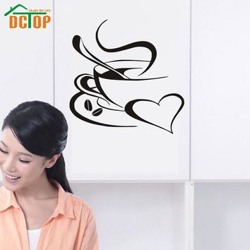 A Cup Of Coffee Wall Stickers Home Decor Creative Cafe Shop Wall Decorative Stickers