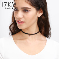 17KM 2016 New Fashion Black Leather Choker Necklace Wrap Gold Color Triangle Necklace For Women Skull Lace Hollow out Jewelry