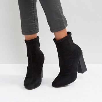 Boohoo Faux Suede Heeled Ankle Boot at asos.com