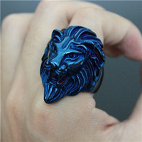 LEO blu Steel Mens Ring Astrology