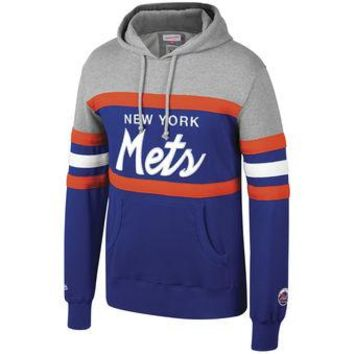 New York Mets Mitchell & Ness MLB Head Coach Pullover Hoodie