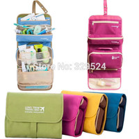 Women's Fashion Solid Foldable Polyester Oxford Fabric Travel Accessories Womens Travel Wash Bags with Hanger for Toiletries