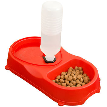 Evelots® Premium Pet Feeder With Food Bowl & Automatic Water Refill Bottle System