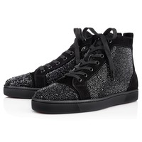 Christian Louboutin Louis Strass Men's Women's Flat Black Suede 3100592BK01