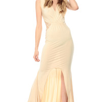 Cream Train Tail Lace Detailed Maxi Dress