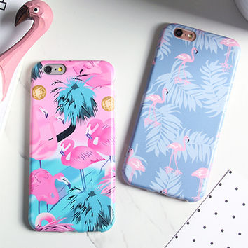 Luxury IMD Cartoon Flamingo Case For iphone 7 Case For iphone7 6 6S PLus Phone Cases Lovely Ostrich Colorful Leaf Back Cover NEW -Girllove100