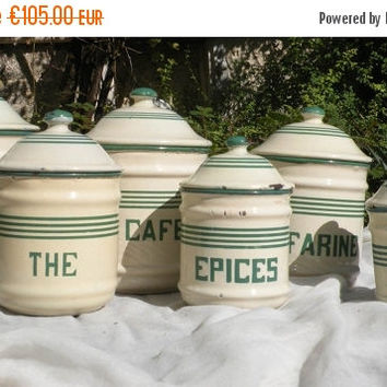 SALE-15% OFF vintage enamel storage canisters, enamelware, French kitchen, vintage kitchen, French kitchen storage, French vintage, kitchen