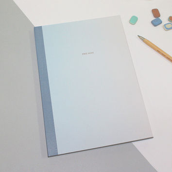 Blue gradation large plain notebook