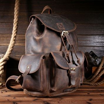 Brand Men Real Genuine Leather Backpack Vintage Crazy Horse Rucksack Drawstring Extra Capacity Male Weekend Travel Tote 9027