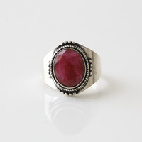 925 Silver Plated Ring with Ruby Corundum US9