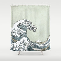 the great wave... color vintage grunge...  Shower Curtain by studiomarshallarts