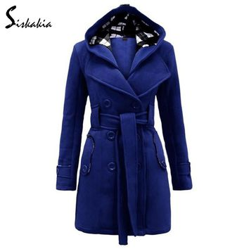 Siskakia Double collar Hooded parkas Winter 2017 Women long Coat jacket Solid Slim lace up waist Wool & Blends Double Breasted