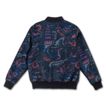 Wave Forest Bomber in Blue –Pink+Dolphin