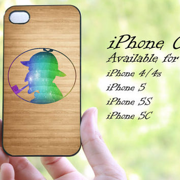 colorful Sherlock Holmes on wood design iphone case for iphone 4 case, iphone 4s case,iphone 5 case, iphone 5s case, iphone 5c case