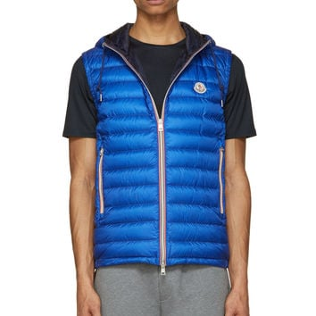 Moncler Royal Blue Quilted Down Hooded Naples Vest