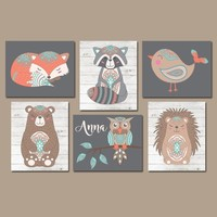 Girl Tribal Woodland Animals Nursery Decor, Girl Boho Woodland Animals Wall Art, Woodland Tribal Girl Baby Shower, CANVAS or Prints Set of 6