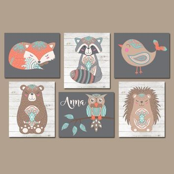 Girl Tribal Animals Nursery Decor, Girl Boho Woodland Animals Wall Art, Fox Bear Owl Bird, Tribal Baby Shower, CANVAS or Prints, Set of 6