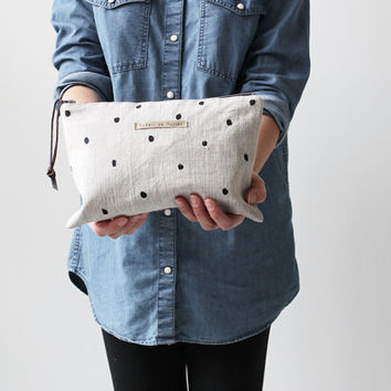 Set of 2 zipper pouches, Hand printed linen, Oversized Make up bag with Small zipper pouch Black polka dot Leather zip pull, Gift ideas