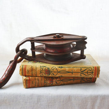 Vintage Metal Pulley,  Red Iron Double Sheave Pulley, Iron Pulley,  Sheave and Tackle, Gift for Him