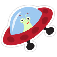 Cute alien in spaceship cartoon sticker