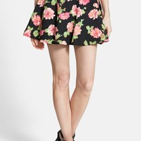 Junior Women's Lush Floral Print Skater Skirt