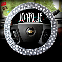 Steering Wheel Cover Gray and White Polka Dot