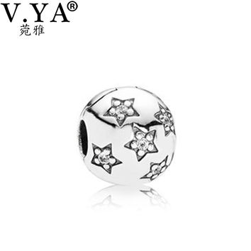 DIY Charms Beads fit Pandora Necklace Bracelet Chain DIY Jewelry Star Pattern with Crystal Beads for Women Men PAZ018