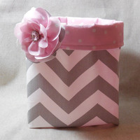 Beautiful Gray and White Chevron Fabric Basket With Pink and White Polka Dot Liner and Detachable Fabric Flower Pin