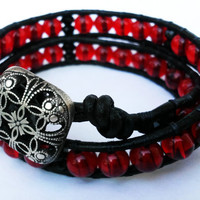 Crimson and Black glass beaded leather double wrap bracelet with Antique Silver Filigree Square Button
