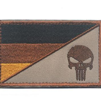 Special Forces Punisher Skull Germany flag patches military  tactical army patch biker morale combat for backpack vest
