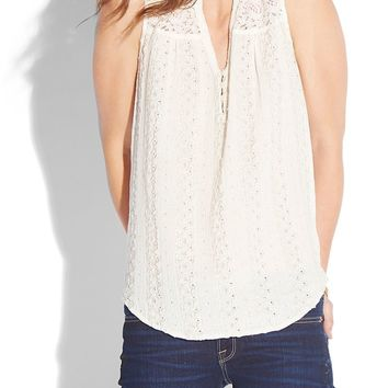 Lucky Brand Rylee Eyelet Top Womens - Natural Multi