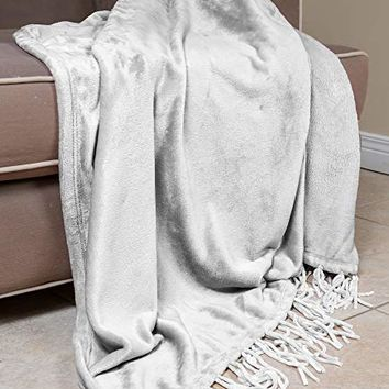 "Elle Decor Chenille Fringe Sofa Throw - Soft Warm Flannel Plush - For Couch and Sofa (True White, 50"" X 70"")"
