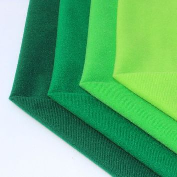 4Pcs Green Fleece Fabric Polyester Loop Fabrics can Hook Plush Brushed Cloth for Sewing Doll Velvet Tissu Felt DIY Stuff Toys