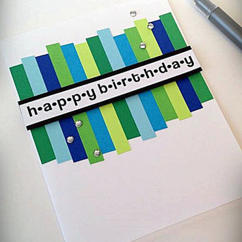 Birthday card, happy birthday, blue and green, clear rhinestones, clean and simple, greeting card, minimalist design, modern card, unisex