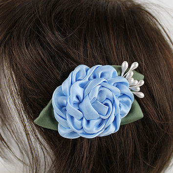 Light Sky Blue Kanzashi Ribbon Flower Hair Clip, Flower Girl, Wedding Hair Clip, Rose Flower Hairclip Hairpiece