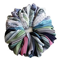 Green Blue Striped Large Hair Scrunchie Accessories Elastic Hair Ties Women's Ponytale Holders Wrap