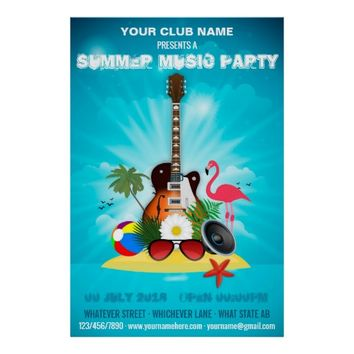 Summer Club Music Party add photo and logo invite Poster