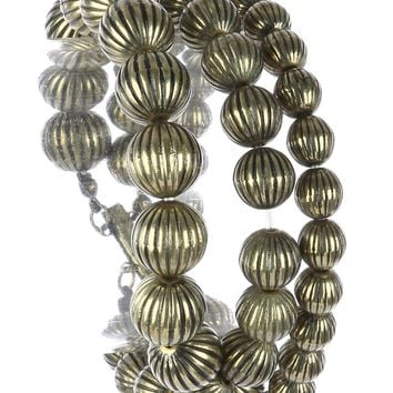 Gold Aged Finish Metallic Bead Three Strand Stretch Bracelet
