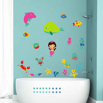 Mermaid Wall Decals for Nursery dolphin Wall Decals fish Wall Decals wall decals for Nursery kids kcik1760
