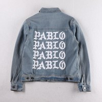 Indie Designs Kanye West Favorite Feel like Pablo Printed Washed Denim Jacket