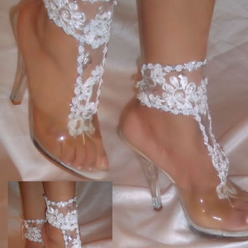 White Flower Barefoot Sandal Ankle Glams, Wedding Sandals, Beach Sandals, Foot Thong, Nude Sandals, Bridal Wear, Bride Shoes, Bride Accesory