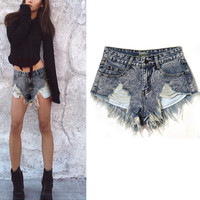 Summer mini sexy white blue womens hot jeans shorts high waisted denim shorts women ripped shorts for girls plus size