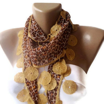 Leopard women Scarf. Leopard pattern, Turkish Fabric Guipure Scarf .elegant,golden brown , shawl neckwarmer cowl, for her