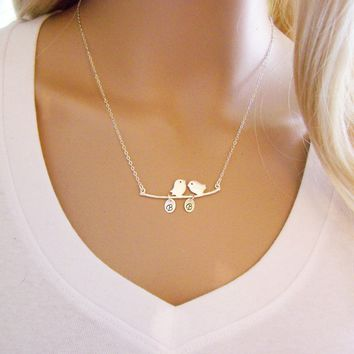 Bird Branch - Family Tree Necklace - Custom Initials
