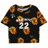 ROMWE | Daisy Print Black T-shirt, The Latest Street Fashion