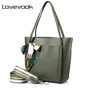 LOVEVOOK women handbag shoulder bags female messenger bag large capacity ladies casual tote bags high quality with bows Black