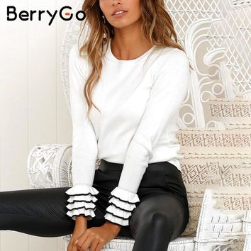 BerryGo Elegant ruffles knitted winter sweater pull femme Women casual pullover ladies sweaters slim female jumpers
