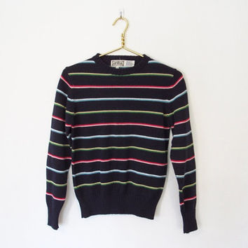 Vintage 1980s Erika Sweater / Navy Blue & Multicolored Striped Knit Pullover / 80s Preppy Sweater