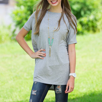 The Perfect Piko Short Sleeve Tunic-Heather Grey
