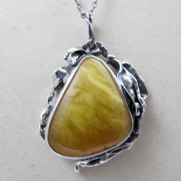 Sterling Egg Yolk Amber Pendant Necklace, Brutalist Organic Amber Pendant, Sterling Silver Butterscotch Baltic Amber Jewelry
